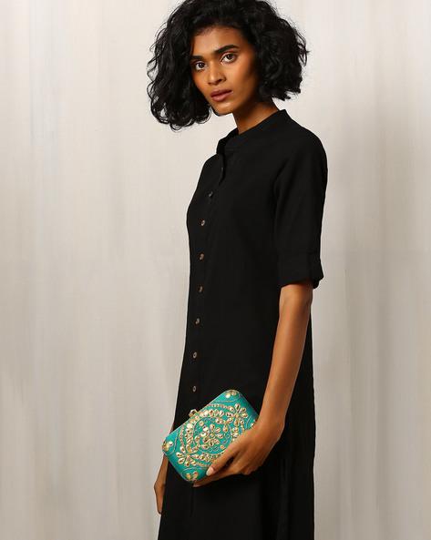 Gota Patti Embroidered Pure Raw Silk Clutch By Molcha ( Green )