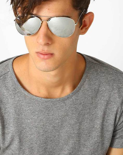 Aviator Sunglasses By ALPHA MAN ( Silver )