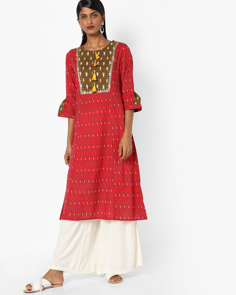 Printed A-line Kurta With Embroidered Yoke By AJIO ( Red )