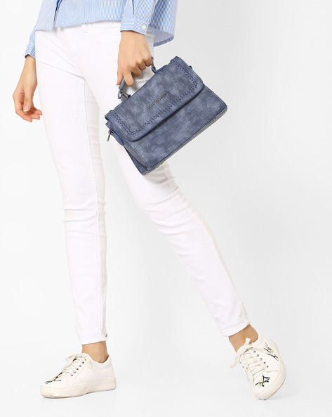 Textured Sling Bag By Lino Perros ( Blue )