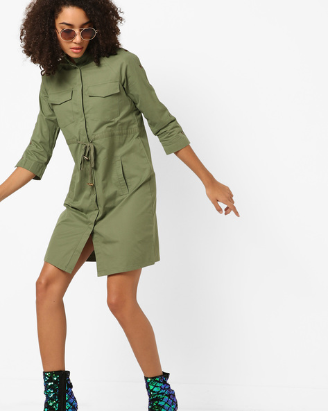 Twill Utility Dress With Buttoned Sleeves By AJIO ( Olive )