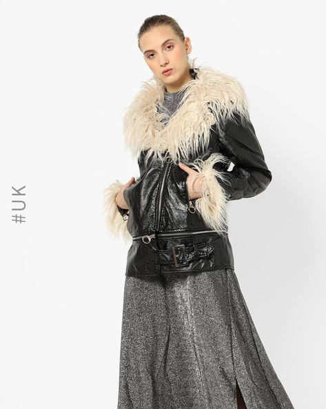 Zip-Front Jacket With Faux-Fur Trims By NEON ROSE ( Black )