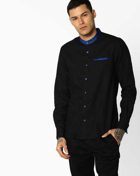 Patterned Slim Shirt By The Indian Garage Co ( Black )