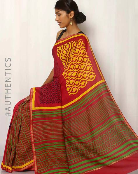 Hand Block Printed Maheshwari Saree By Indie Picks ( Multi )