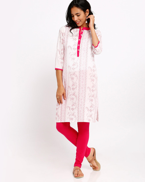 Floral Print Straight Kurta With Mandarin Collar By AVAASA MIX N' MATCH ( Blue )