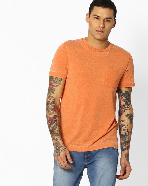 Crew-Neck T-shirt With Patch Pocket By Celio ( Lightred )