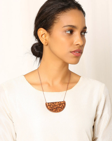 Handcrafted Wooden Necklace By Indie Picks ( Brown )