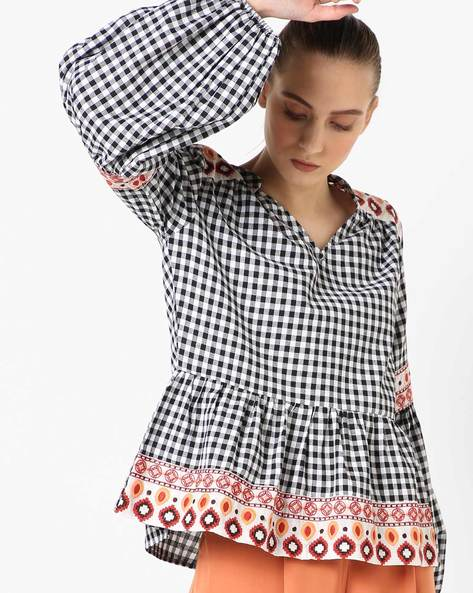Checked Peplum Top With Embroidered Panels By Rena Love ( Blackwhite )