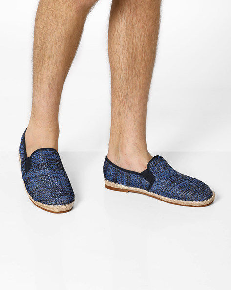 Textured Espadrilles With Elasticated Gussets By AJIO ( Navy )