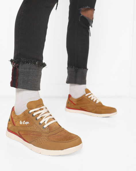 Panelled Sneakers With Perforations By Lee Cooper ( Camel )