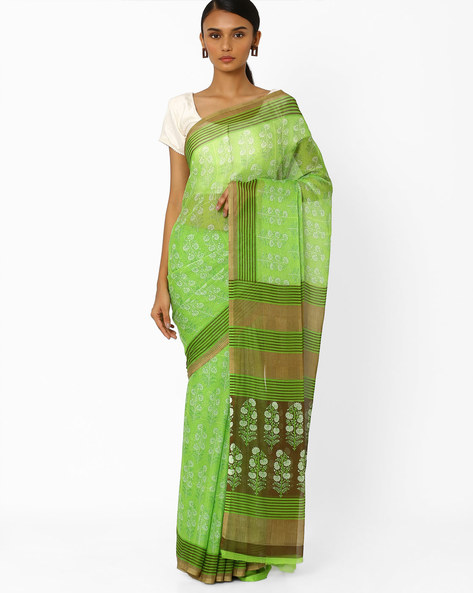 Floral Print Saree With Striped Border By Akoya ( Green )