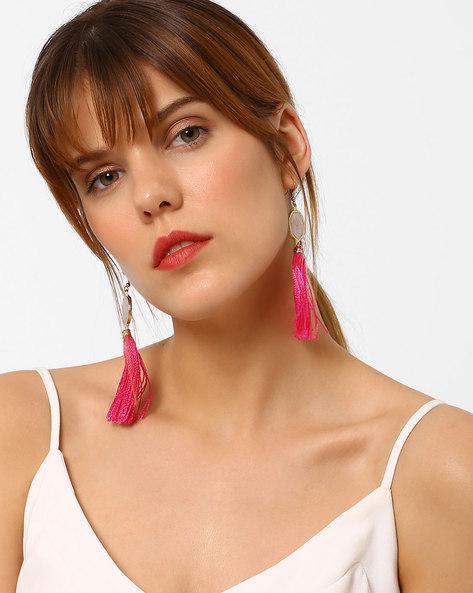 Handmade Tassel Drop-Earrings By BLUEBERRY ( Pink )