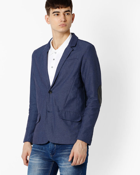Slim Fit Blazer With Elbow Patches By NETPLAY ( Navy )