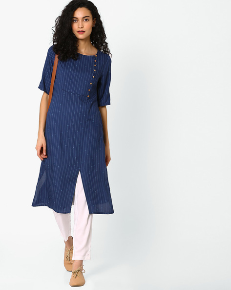 Striped Kurta With Front Slit By AJIO ( Navyblue )