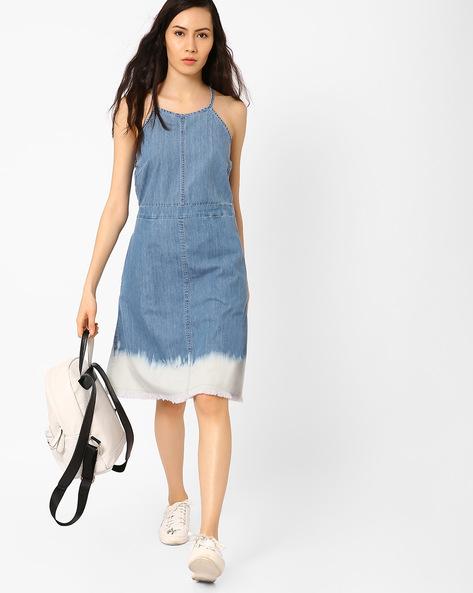 Fit & Flare Denim Dress By AJIO ( Lightblue )
