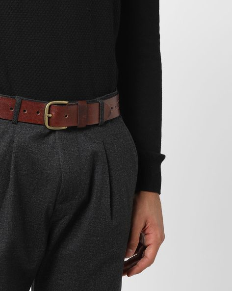 Genuine Leather Classic Formal Belt By AJIO ( Brown )
