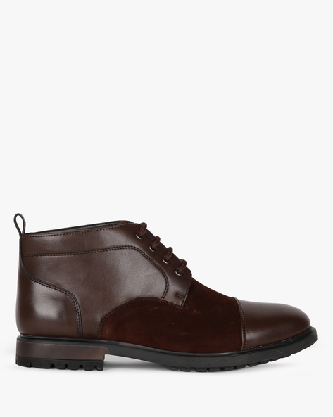 Panelled Mid-Top Boots With Stacked Heels By STELVIO ( Brown )