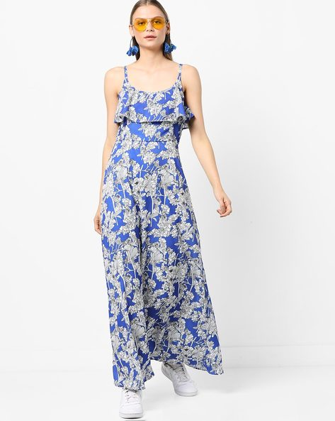 Strappy Floral Print Popover Maxi Dress By Miway ( Blue )