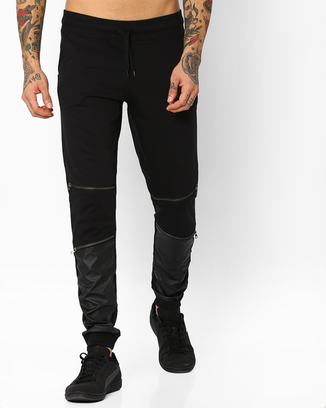Joggers With PU Leather Panels By Garcon ( Black )