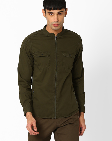 Slim Fit Shacket With Quilted Patches By AJIO ( Olive )