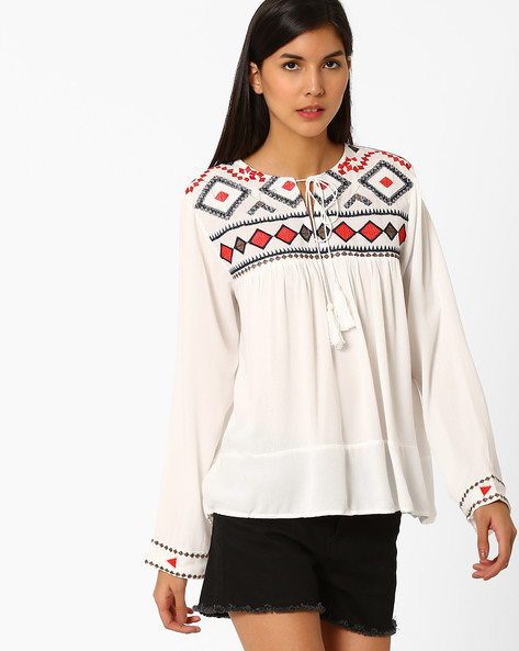 Embroidered Top With Tassel Tie-Up By Ginger By Lifestyle ( Offwhite )