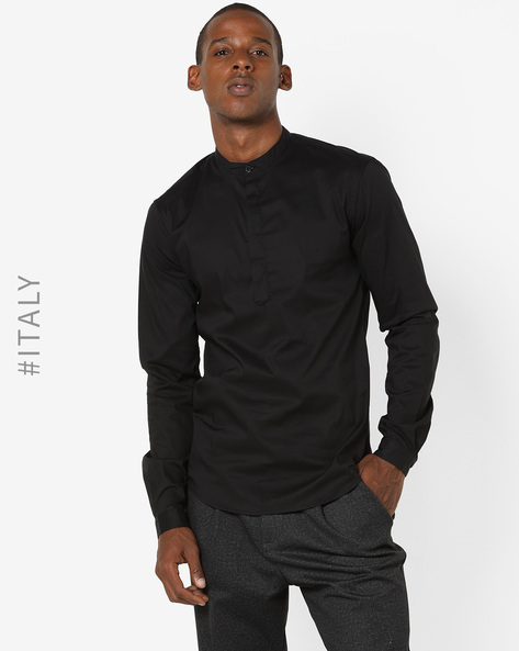 Shirt With Band Collar By ALCOTT ( Black )