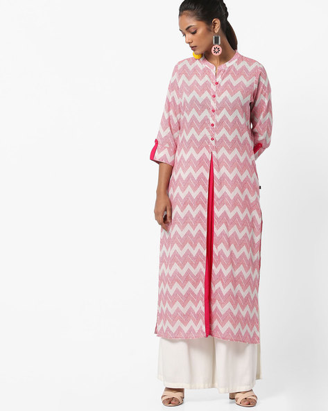 Chevron Print Straight Kurta By AVAASA MIX N' MATCH ( Pink )