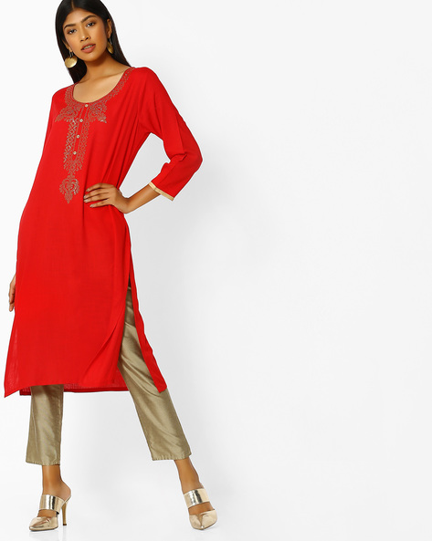 Embellished Straight Kurta By Purple Tree ( Red )