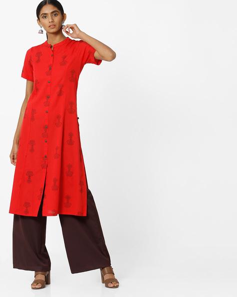 Block Print Straight Kurta With Mandarin Collar By AVAASA MIX N' MATCH ( Red )