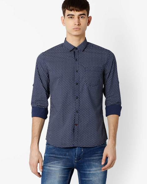 Printed Regular Fit Shirt By NETPLAY ( Navy )