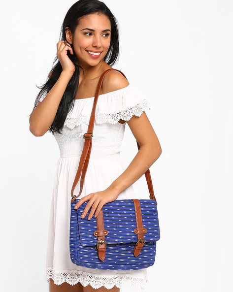 Ikat Messenger Bag By AJIO ( Blue )