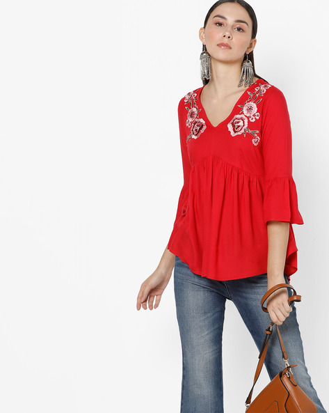 Peplum Top With Flounce Sleeves By Oxolloxo ( Red )