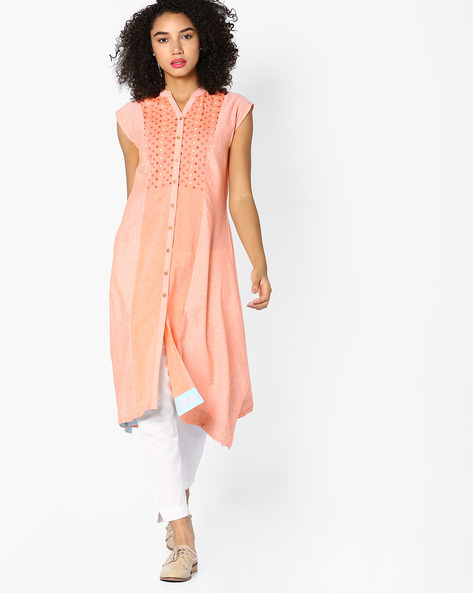 Printed Kurta With Asymmetric Hemline By AJIO ( Multi )