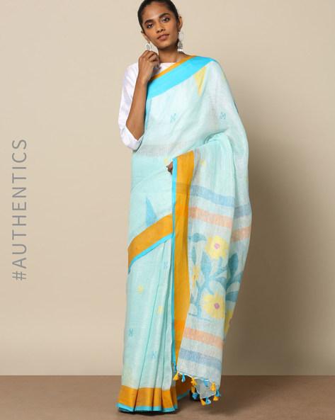 Handloom Pure Linen Jamdani Buti Saree By Indie Picks ( Multicolor )