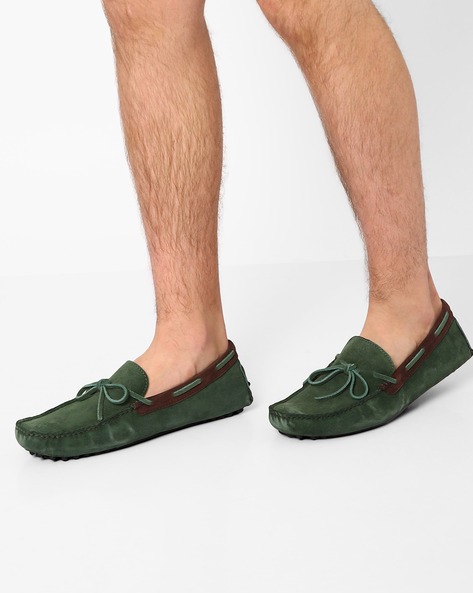 Suede Loafers With Bow Detail By Piaffe ( Green )