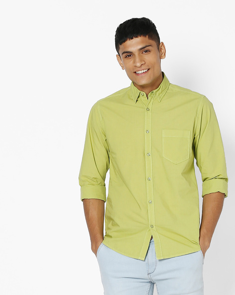 Slim Fit Shirt With Patch Pocket By Pepe Jeans ( Green )