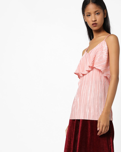 Strappy Top With Ruffle Overlay By AJIO ( Pink )