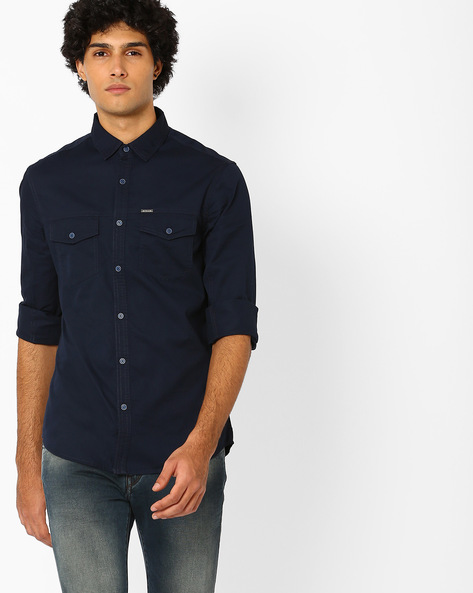 Slim Fit Shirt With Patch Pockets By AJIO ( Navy )
