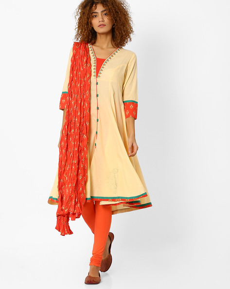 Anarkali Churidar Kurta With Dupatta By AJIO ( Offwhite )