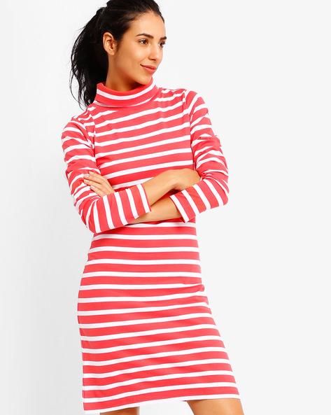 High-Neck Striped Dress By Style Quotient By Noi ( Red )