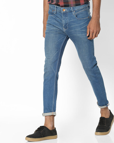 Slim Fit Jeans With Whiskers By UNITED COLORS OF BENETTON ( Blue )