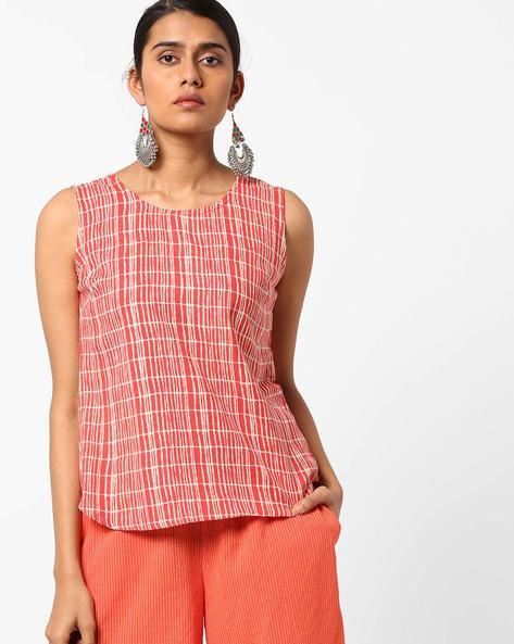 Printed Sleeveless Tunic By AJIO ( Pink )