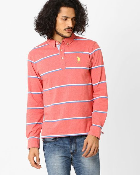 Striped Slim Fit Polo T-shirt By US POLO ( Green )