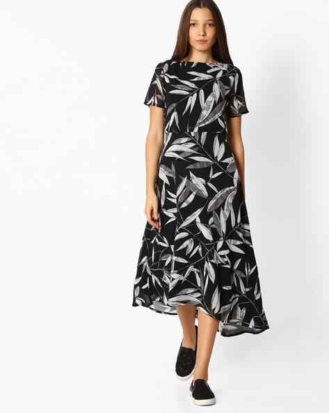 Printed A-line Asymmetrical Dress By Femella ( Black )