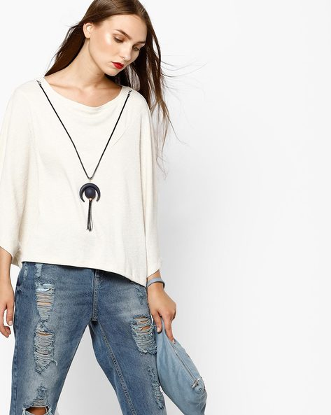 Boxy Top With Bell Sleeves By AJIO ( Offwhite )