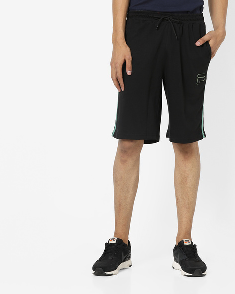 Long Shorts With Contrast Stripes By FILA ( Black )