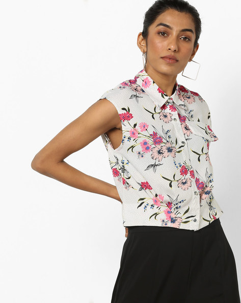 Floral Print Sleeveless Shirt By AJIO ( Lightpink )