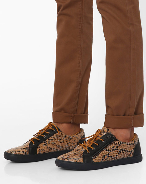 Printed Casual Shoes With Zippers By Muddman ( Tan )