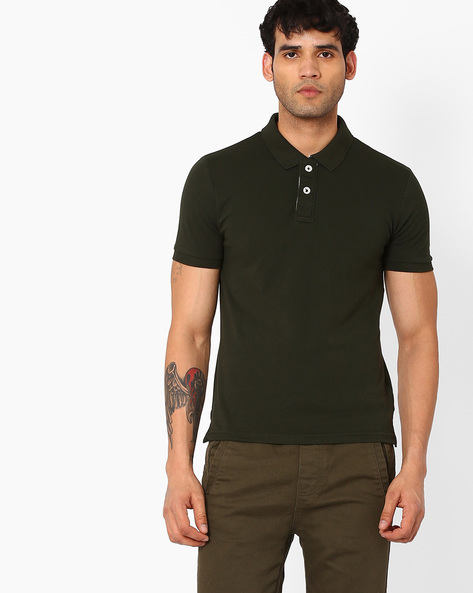 Cotton Pique Polo T-shirt By AJIO ( Olive )