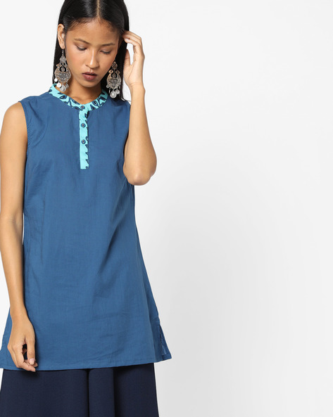 Collared Sleeveless Kurta By AJIO ( Blue )